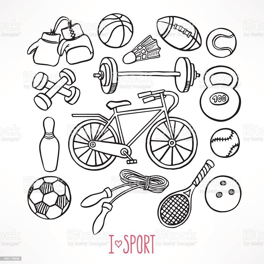 sketch sport equipment vector art illustration