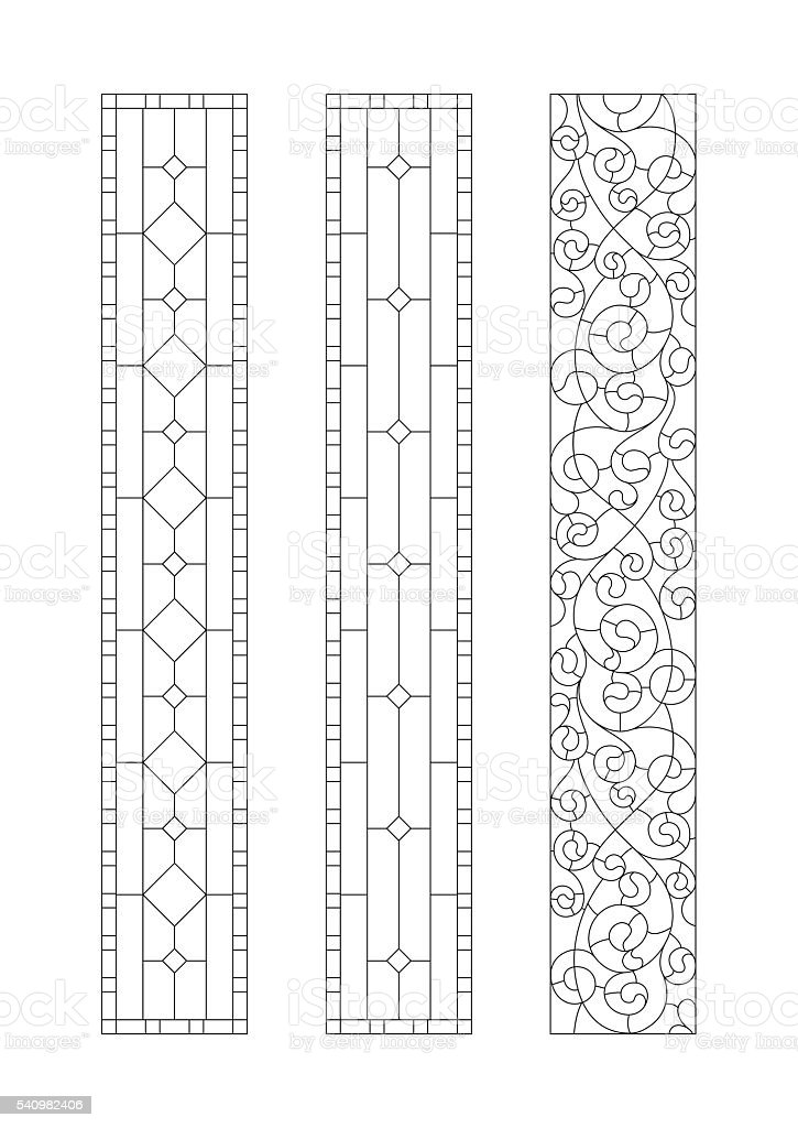Sketch stained-glass windows vector art illustration