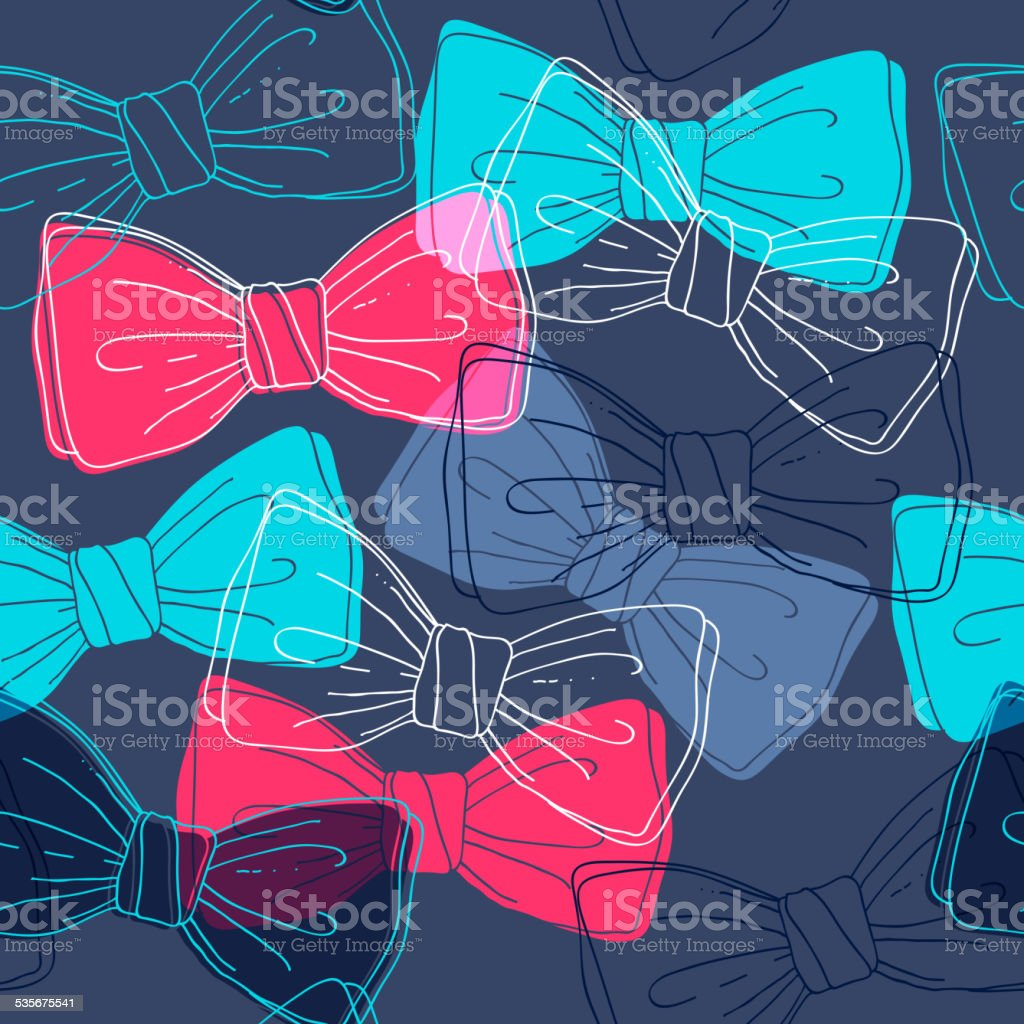 Sketch style bow ties seamless pattern. vector art illustration
