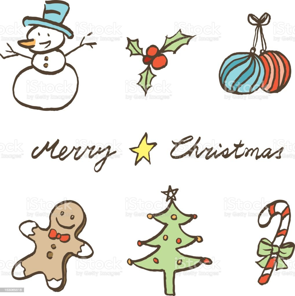 sketch style christmas element icons royalty-free stock vector art