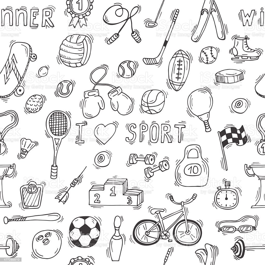 Sketch style sport seamless pattern vector art illustration