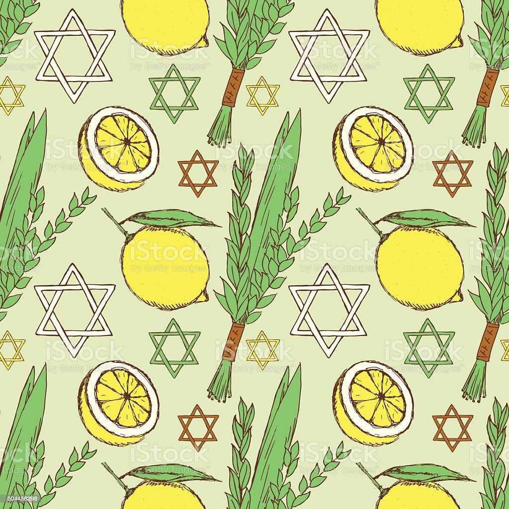Sketch Sukkot pattern vector art illustration