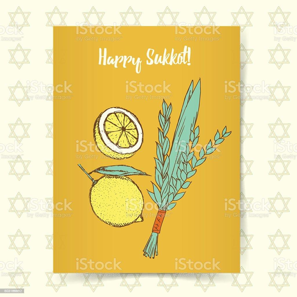 Sketch Sukkot poster vector art illustration