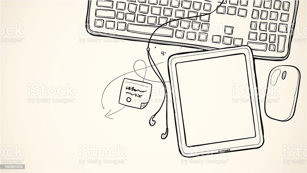 Sketch tablet device drawing vector art illustration