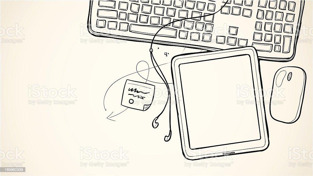 Sketch tablet device drawing vector art illustration