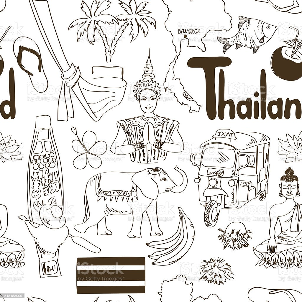 Sketch Thailand seamless pattern vector art illustration