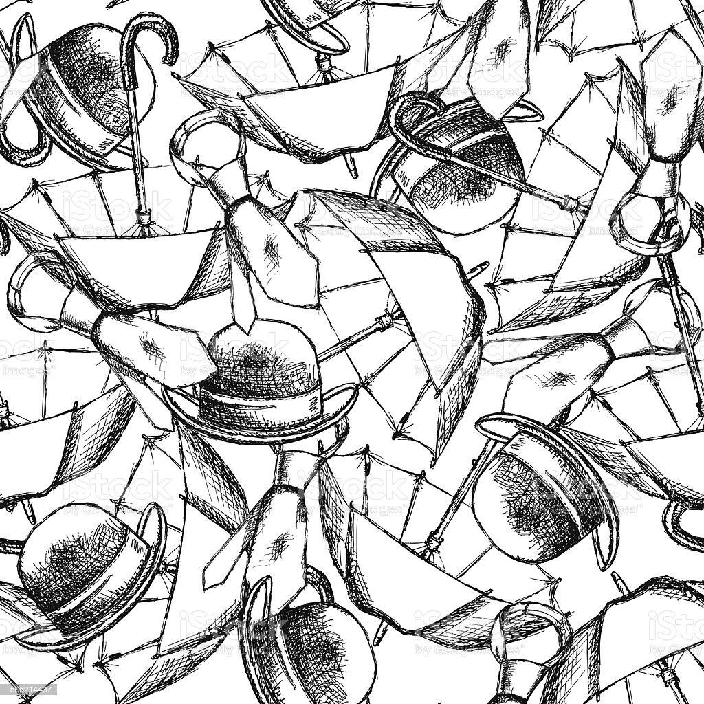 Sketch umbrella, hat and tie royalty-free stock vector art