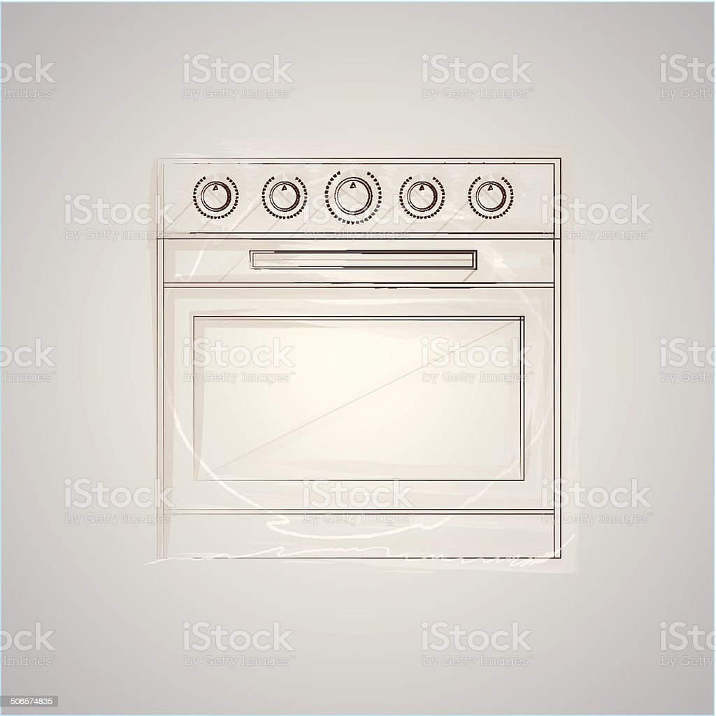 Sketch vector illustration of oven royalty-free stock vector art