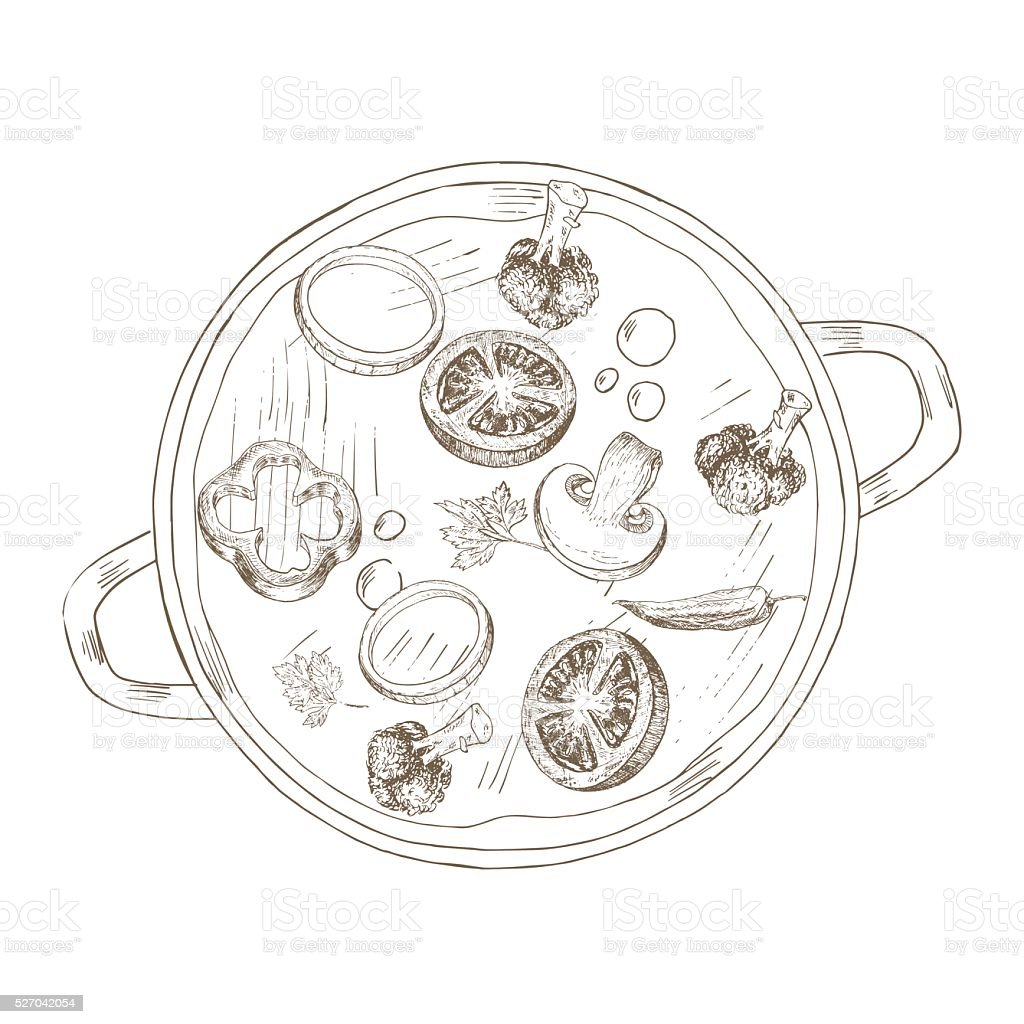 Sketch vegetable soup vector art illustration