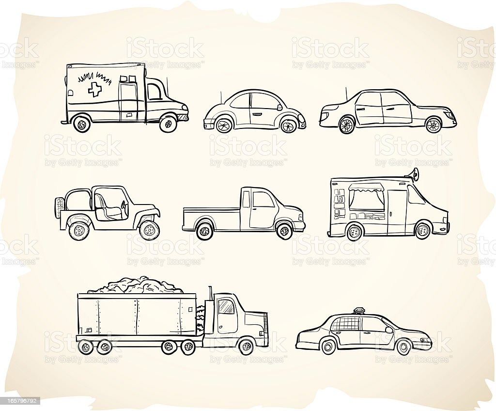 Sketch Vehicles vector art illustration