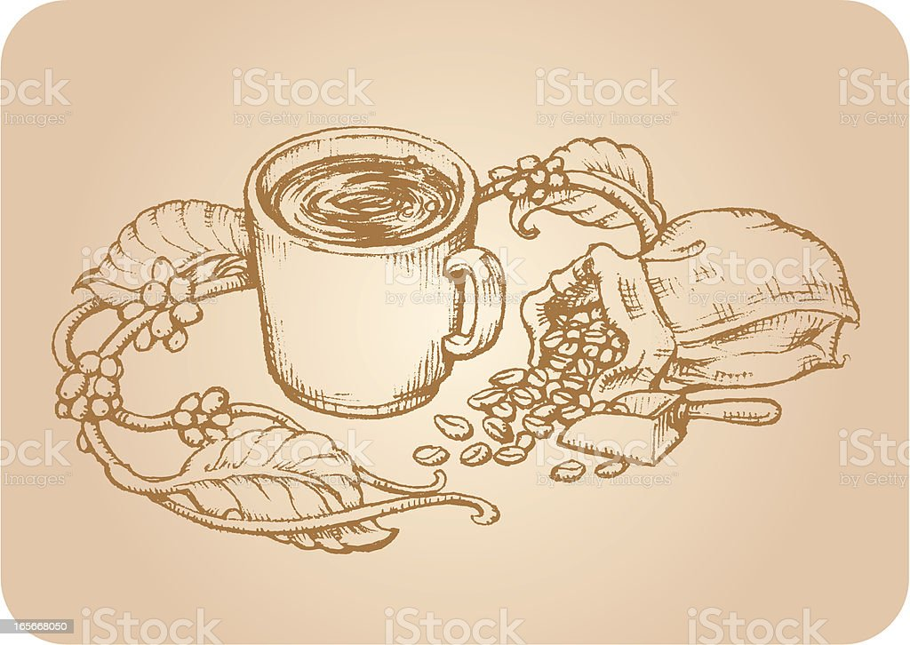 Sketch Vintage Coffee royalty-free stock vector art