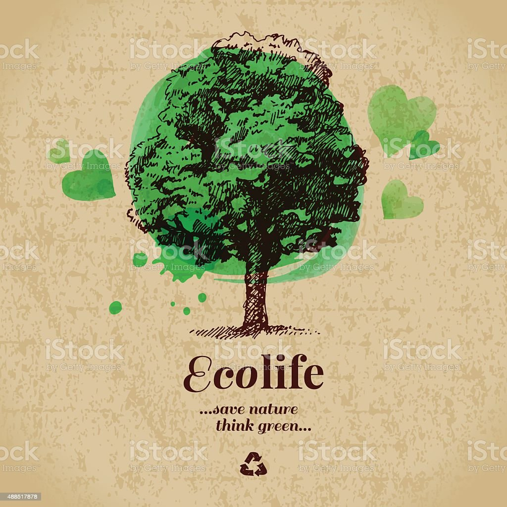 Sketch watercolor ecology poster. Hand drawn vector illustration vector art illustration
