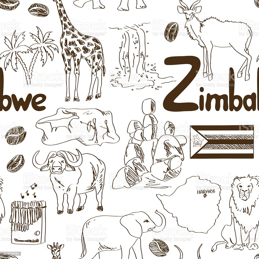 Sketch Zimbabwe seamless pattern vector art illustration