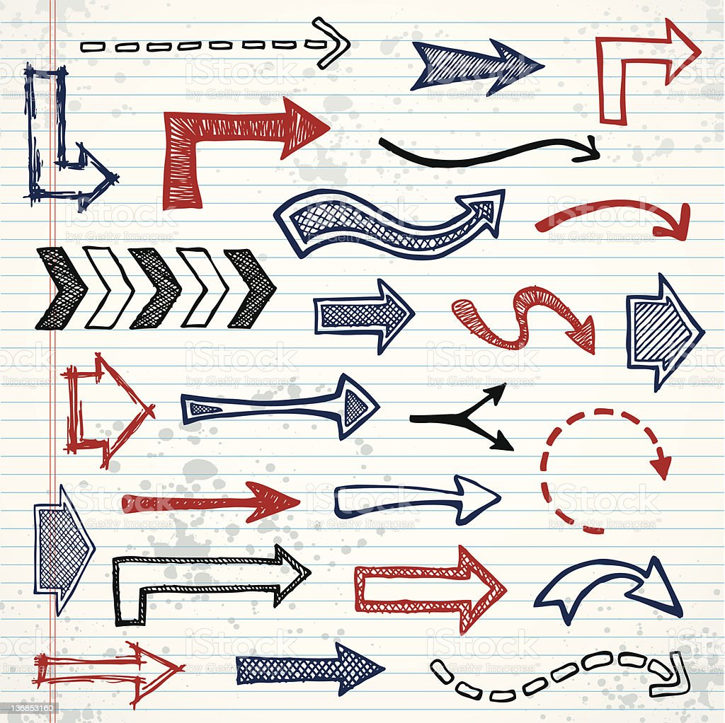 Sketched arrows royalty-free stock vector art