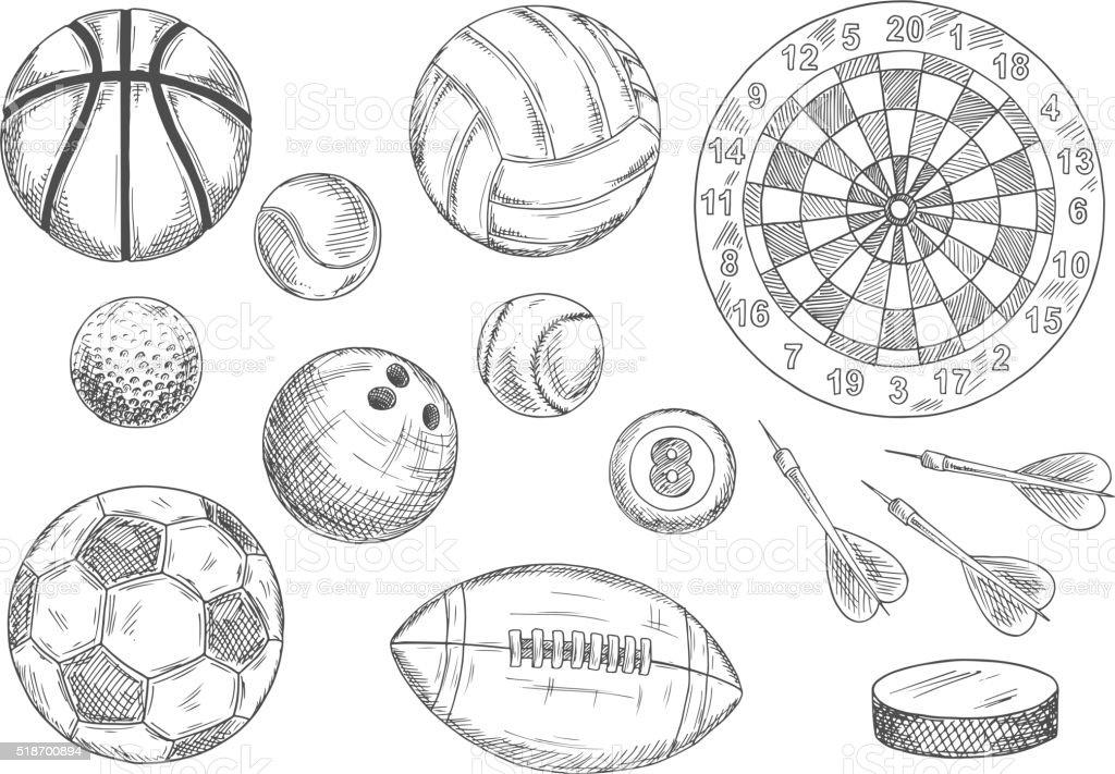 Sketched balls, hockey puck and darts items vector art illustration
