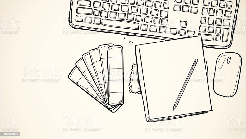 Sketched fashion designer illustration vector art illustration