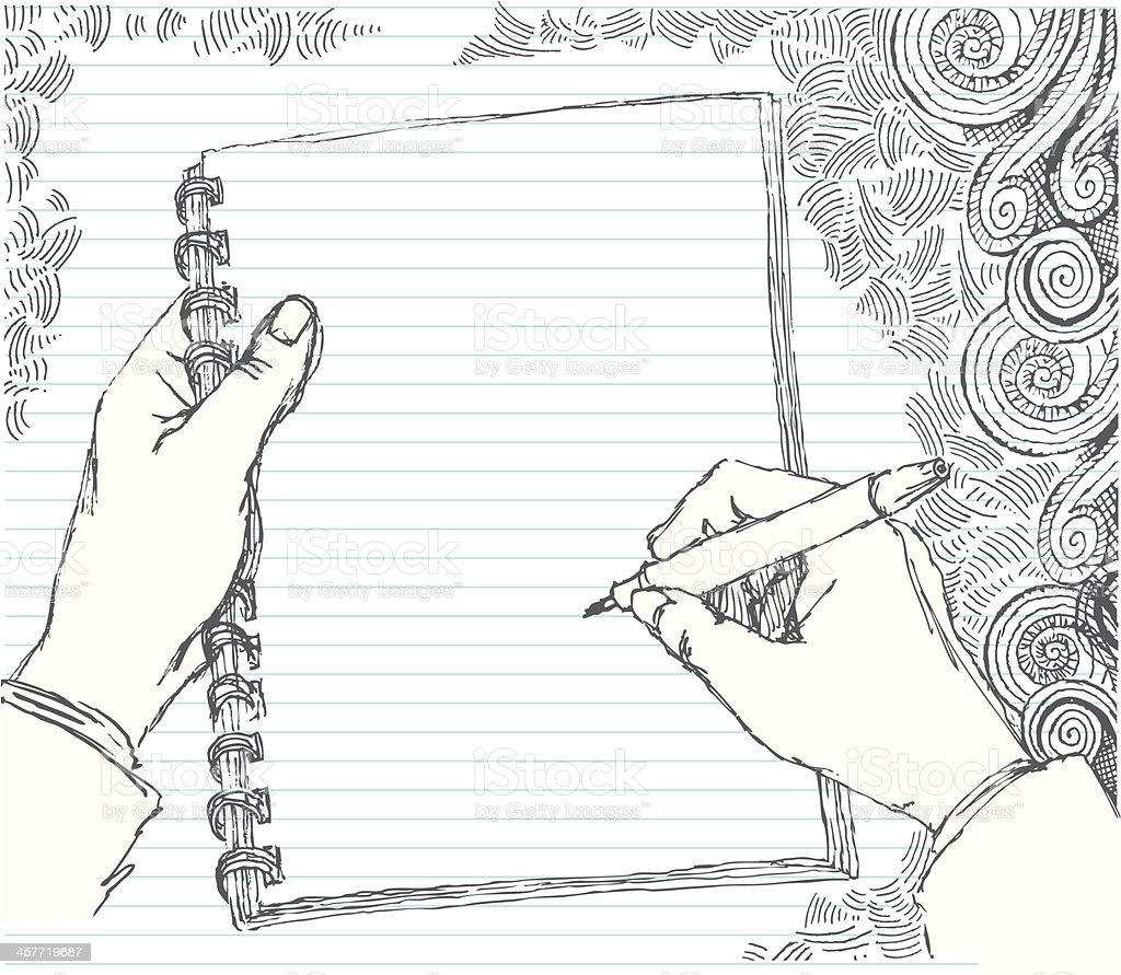 Sketched hand doodling vector art illustration