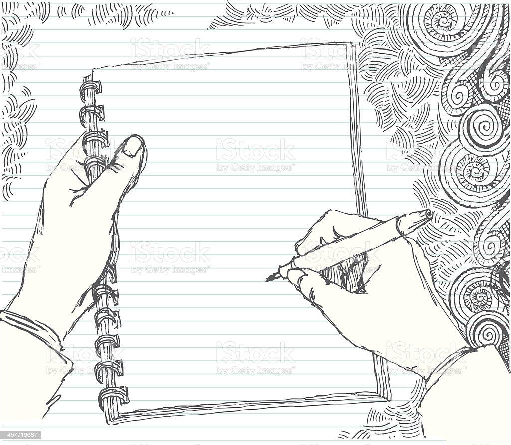 Sketched hand doodling vector art illustration