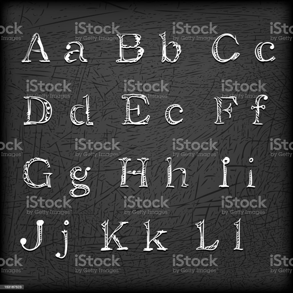 Sketched Hand drawn alphabet A-L royalty-free stock vector art