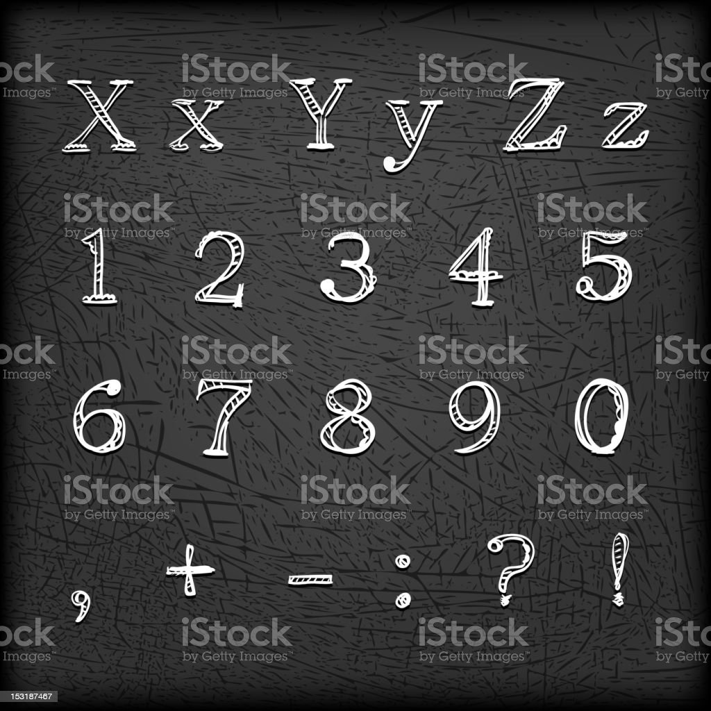 Sketched Hand drawn alphabet X-!-01 royalty-free stock vector art