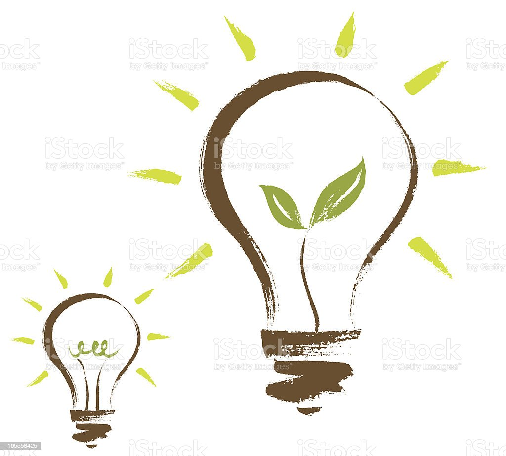 Sketched light bulbs with green sprouts inside royalty-free stock vector art