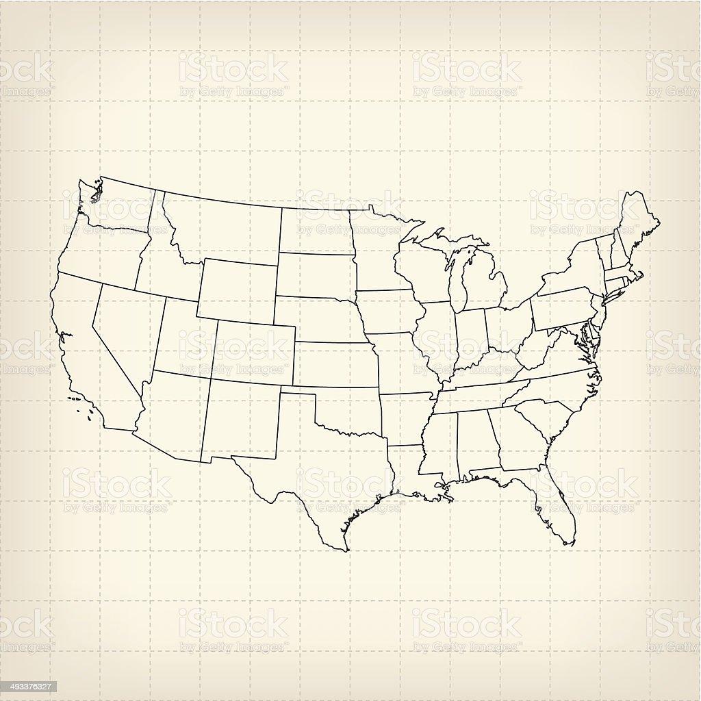 USA sketched map vector art illustration
