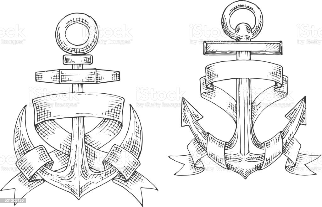 Sketched marine anchors wrapped by ribbon. vector art illustration