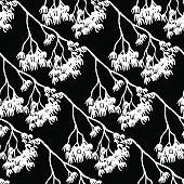 Sketched monochrome branch silhouette line art seamless pattern vector