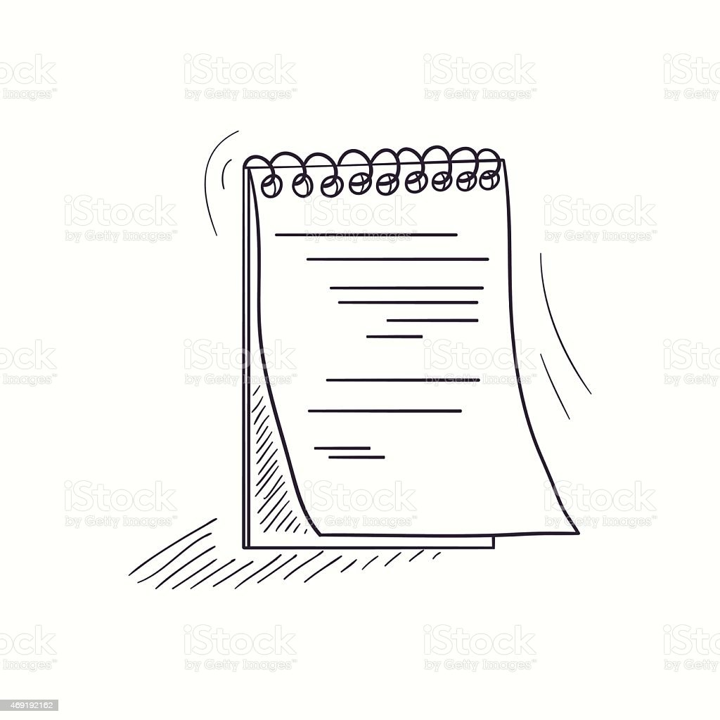 Sketched notebook desktop icon vector art illustration