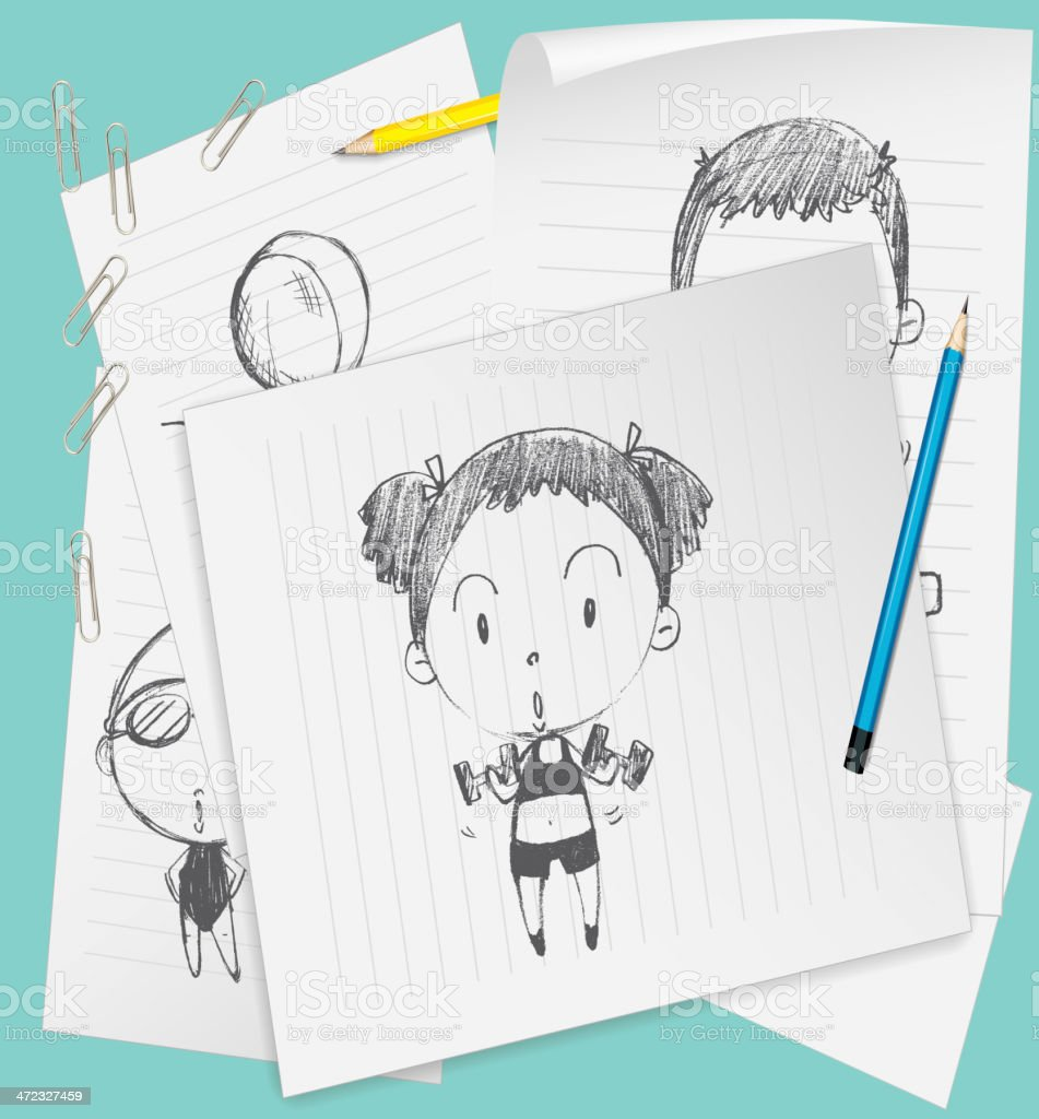 Sketched on paper royalty-free stock vector art