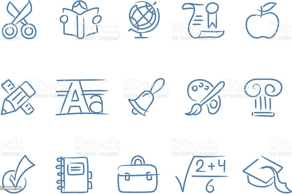 sketched school icons vector art illustration