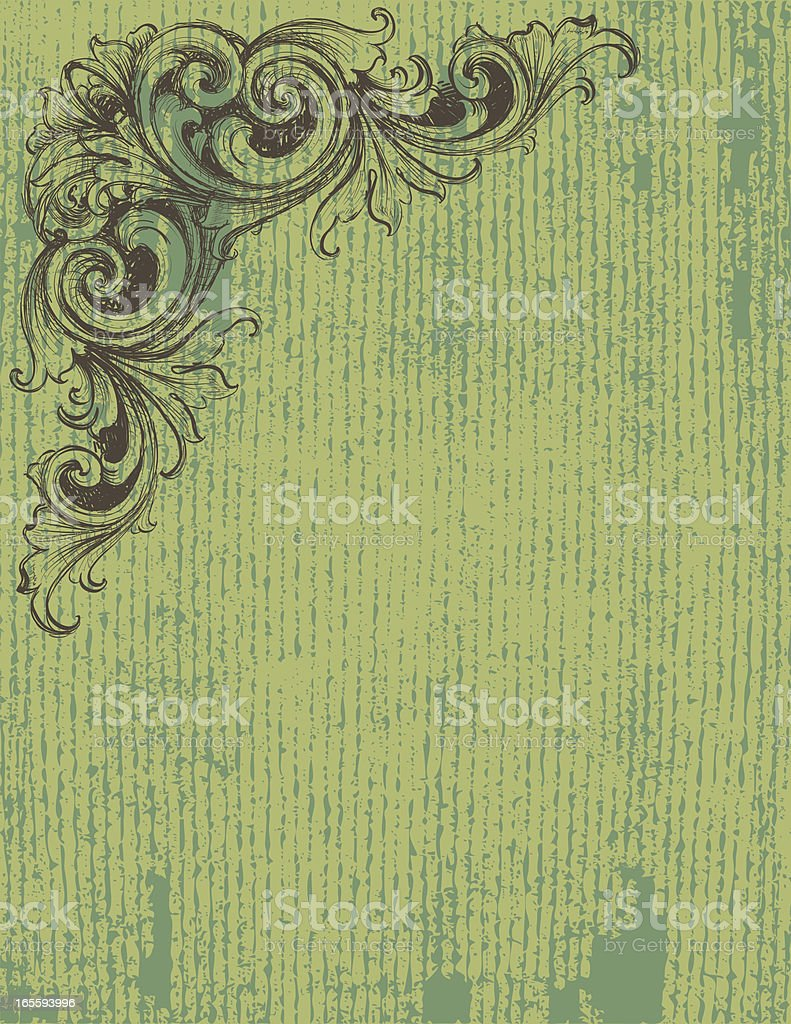 Sketched Scroll Green Background royalty-free stock vector art