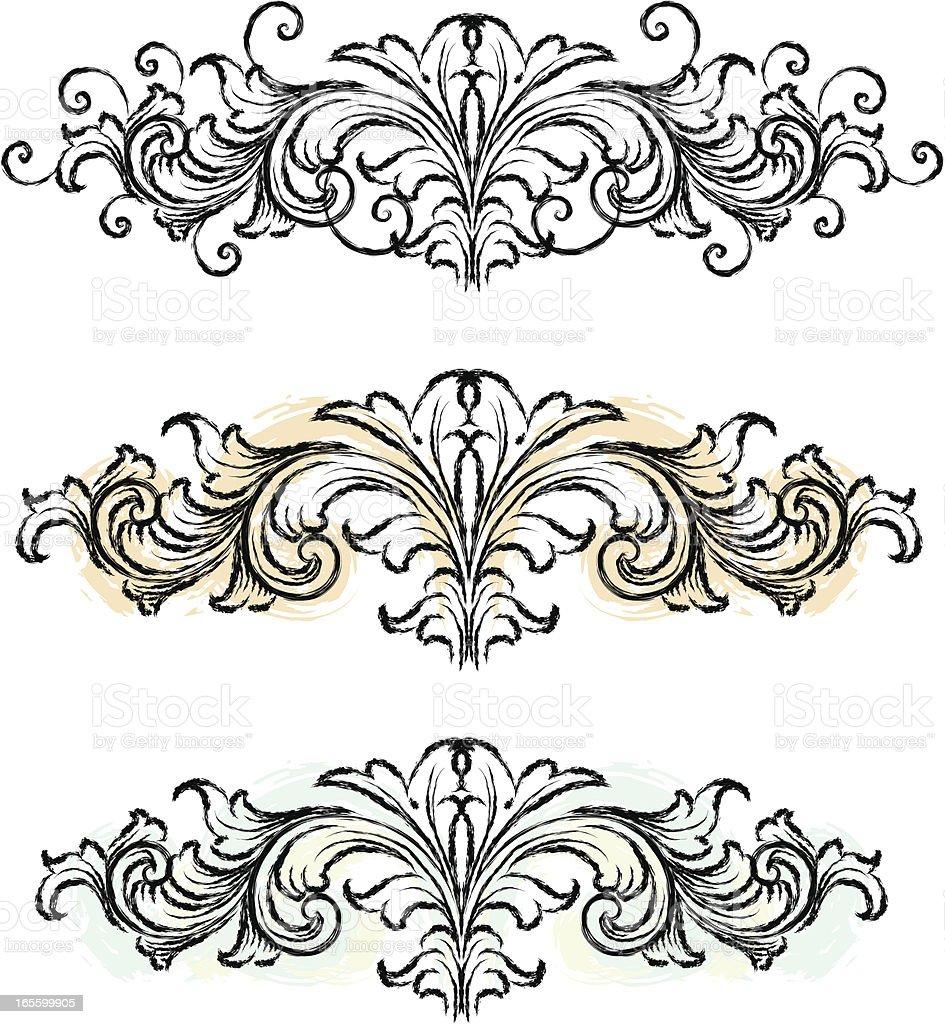 Sketched Scroll Headers vector art illustration