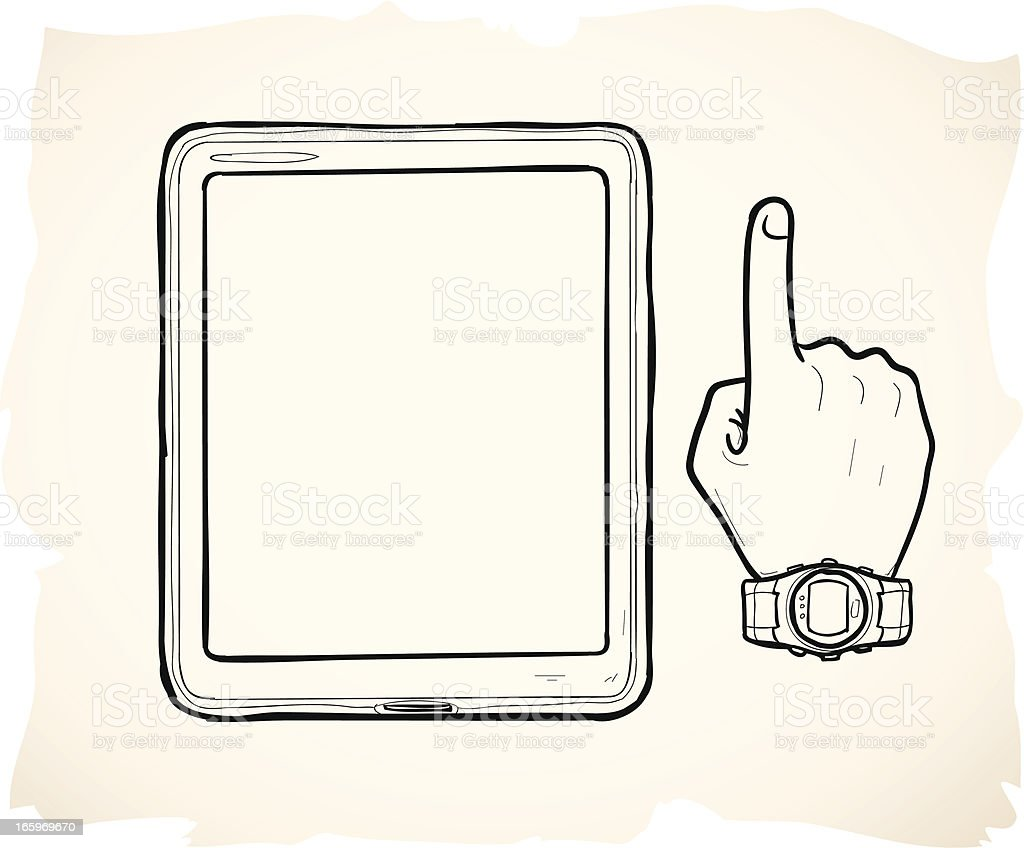Sketched tablet device and hand vector art illustration