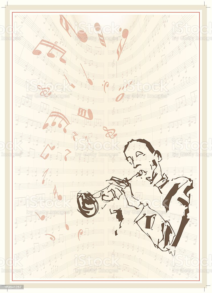 Sketched trumpet player and musical notes royalty-free stock vector art