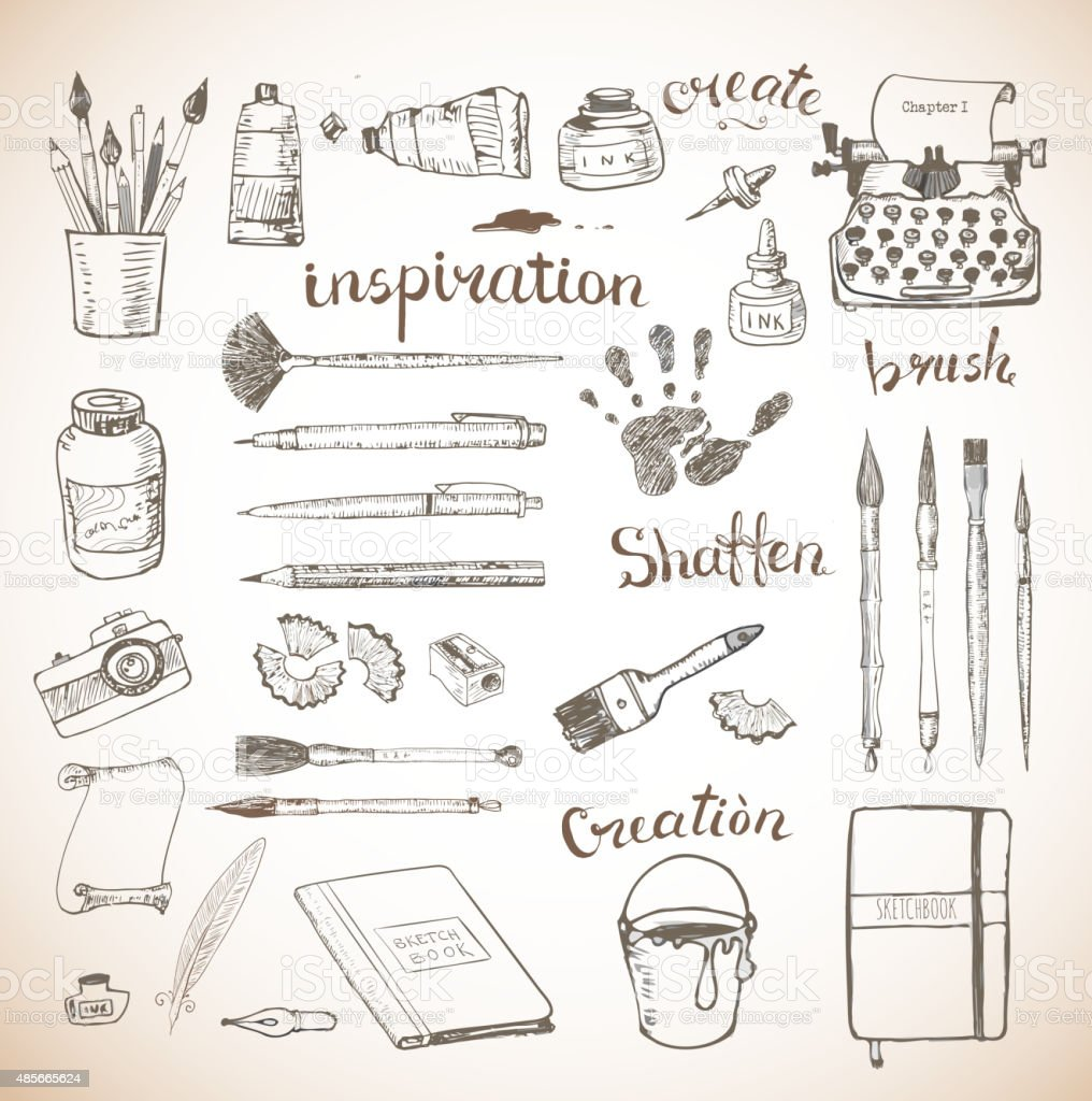 Sketches of artist's and writer's tools hand drawn with ink vector art illustration