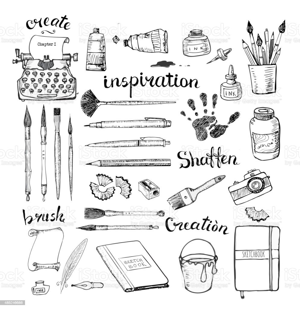 Sketches of artist's and writer's tools vector art illustration