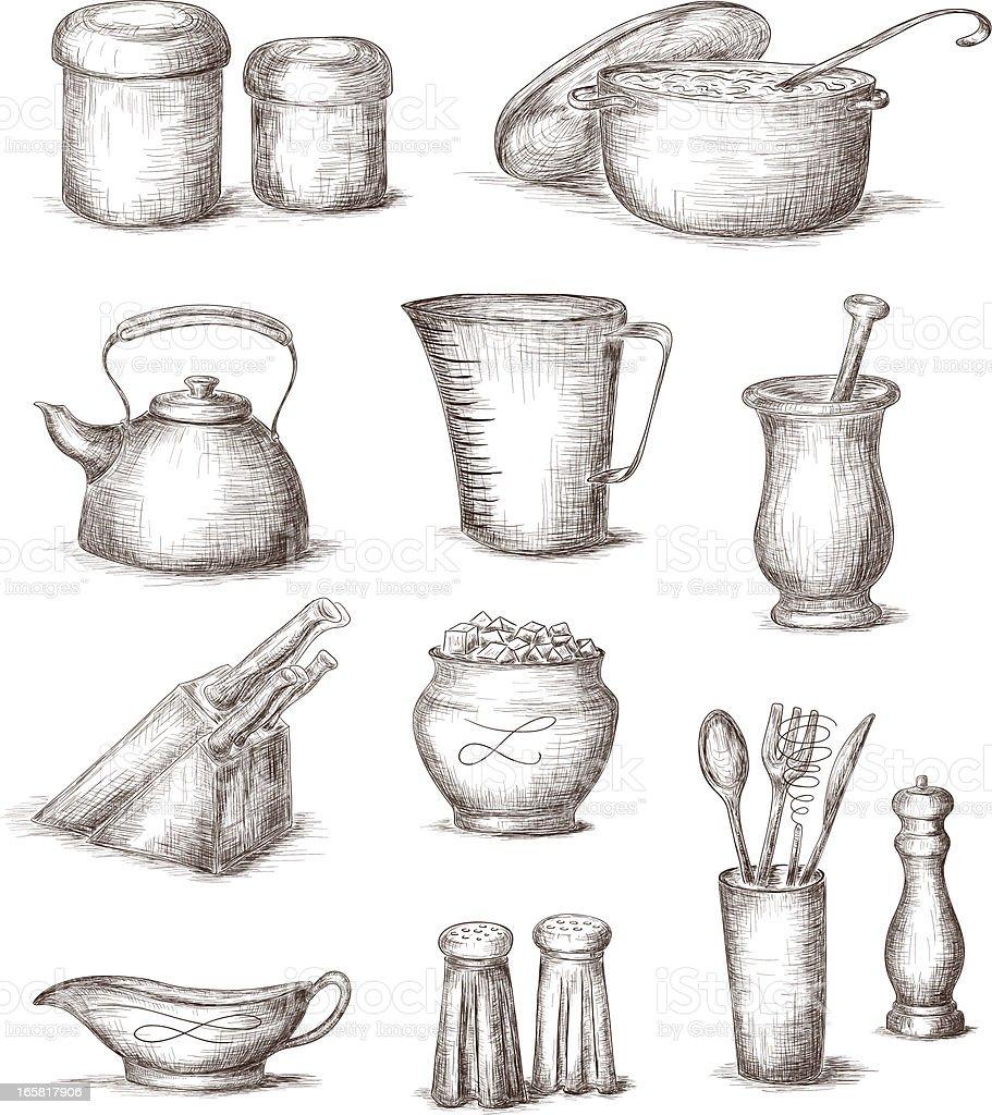 Kitchen Utensils Art sketches of different kitchen utensils stock vector art 165817906