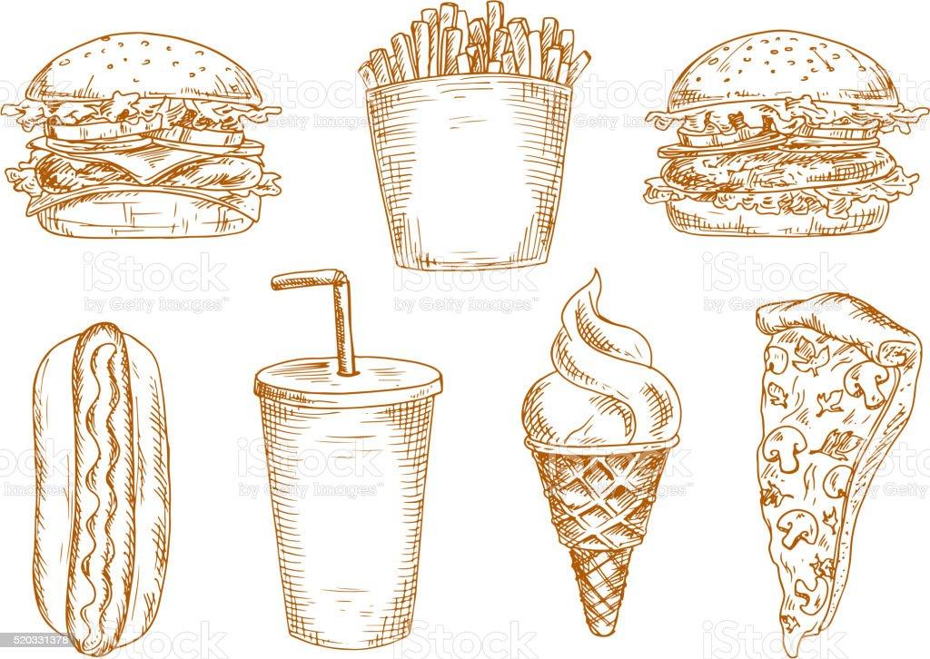 Sketches of fast food snacks vector art illustration