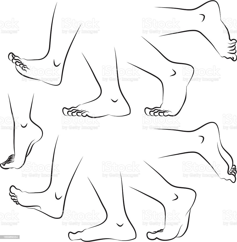 Sketches of feet in various positions vector art illustration