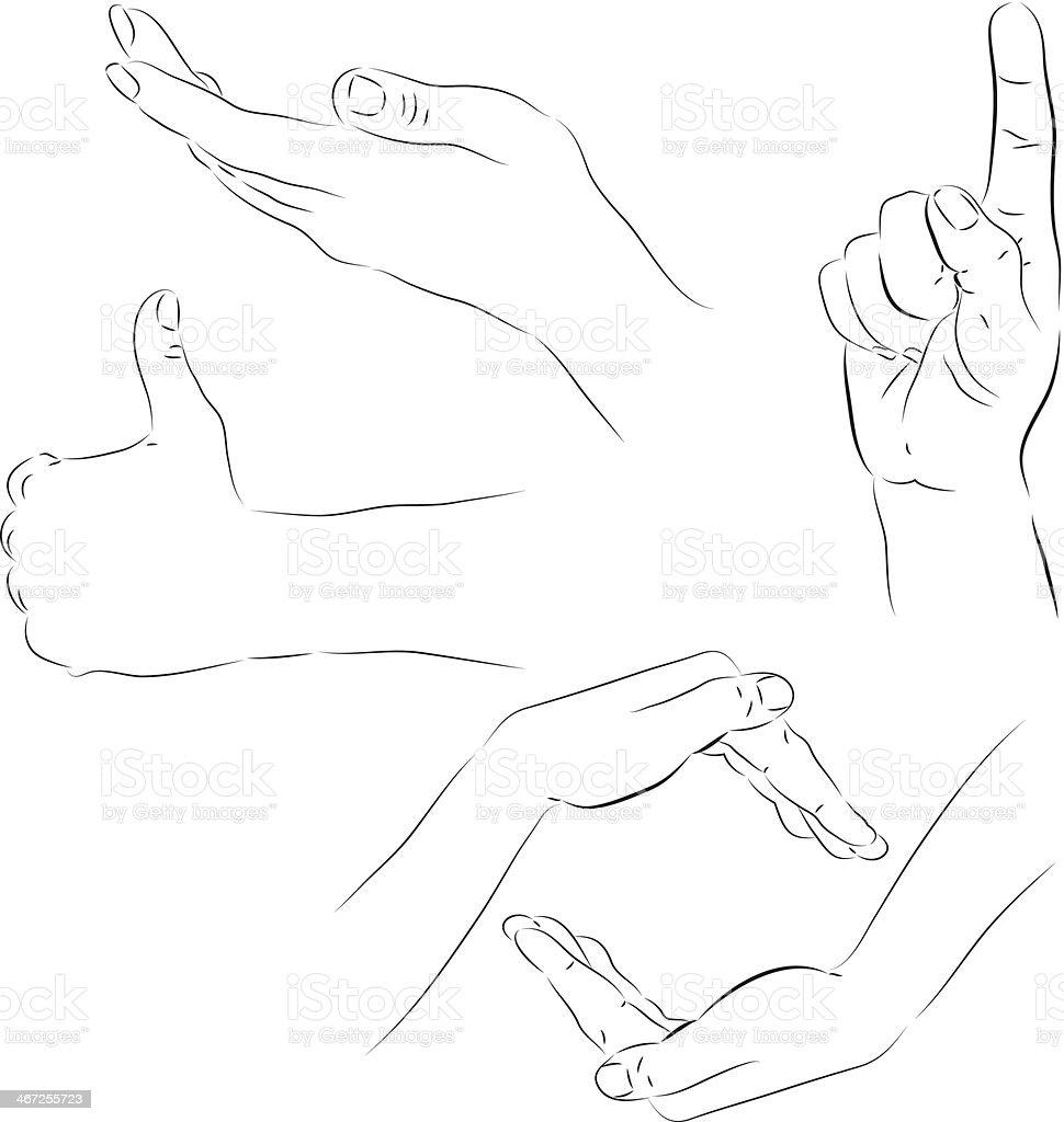 Sketches of hands vector art illustration