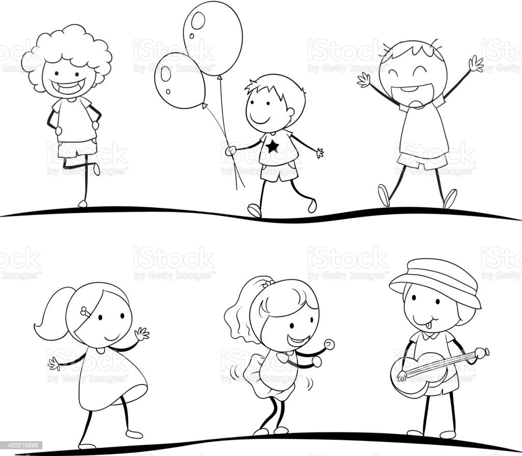 sketches of kids royalty free stock vector art - Sketches Of Kids