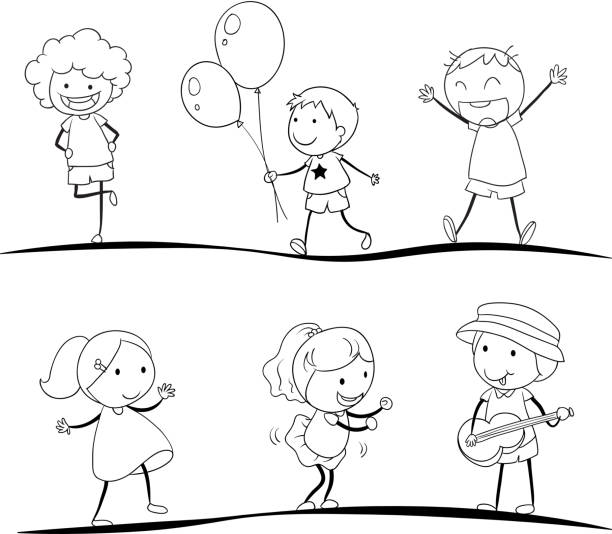 sketches of kids vector art illustration - Sketches Of Kids