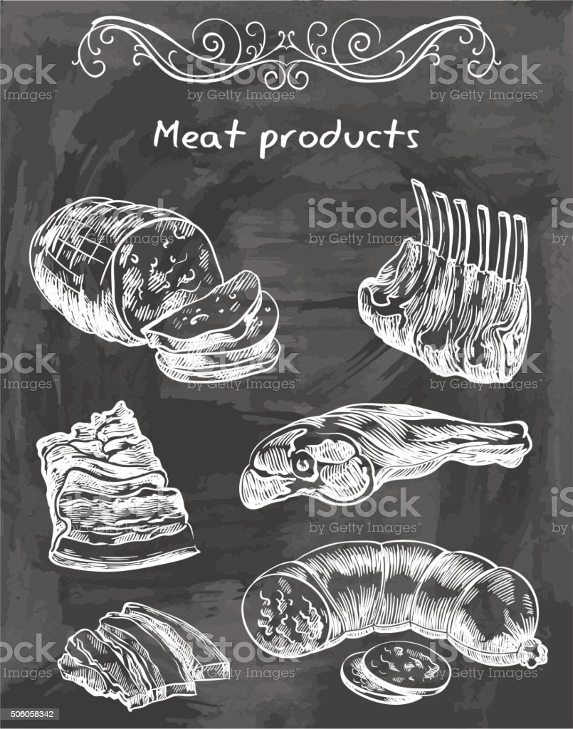 sketches of meat foods vector art illustration