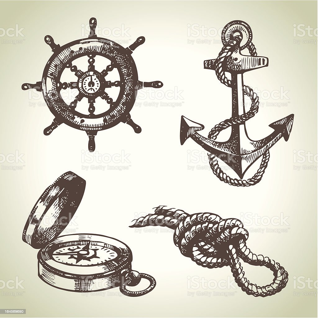 Sketches of ship steering wheel, compass, rope, and anchor  royalty-free stock vector art