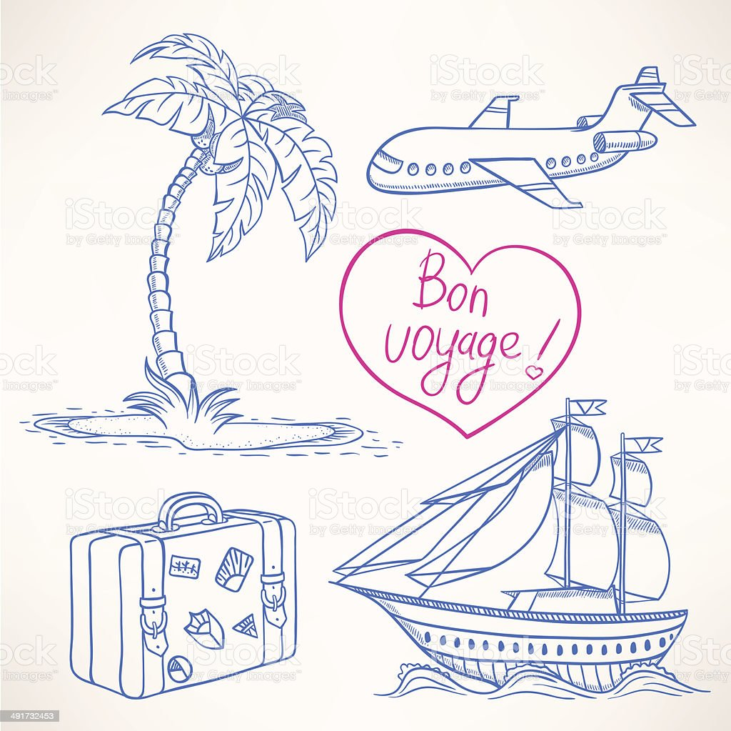 sketches of travel vector art illustration