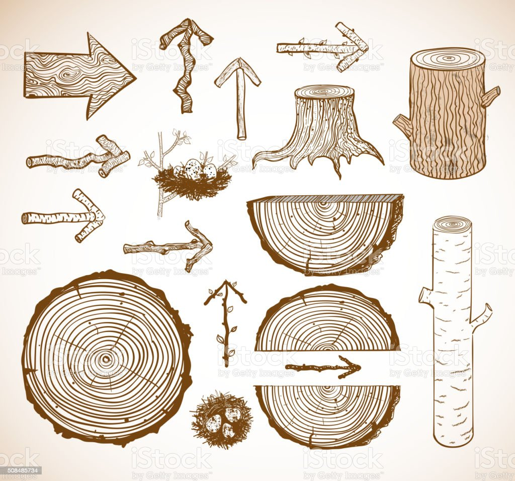 Sketches of wooden elements vector art illustration