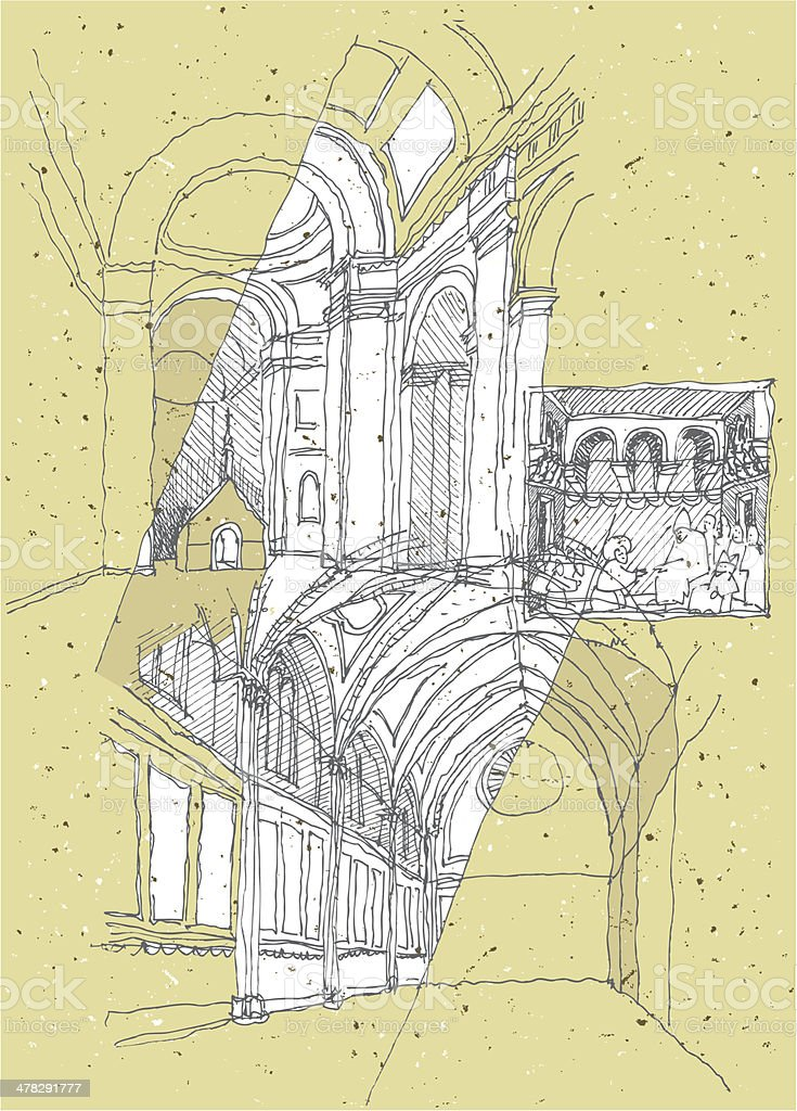 Sketching Historical Architecture in Italy: Assisi royalty-free stock vector art