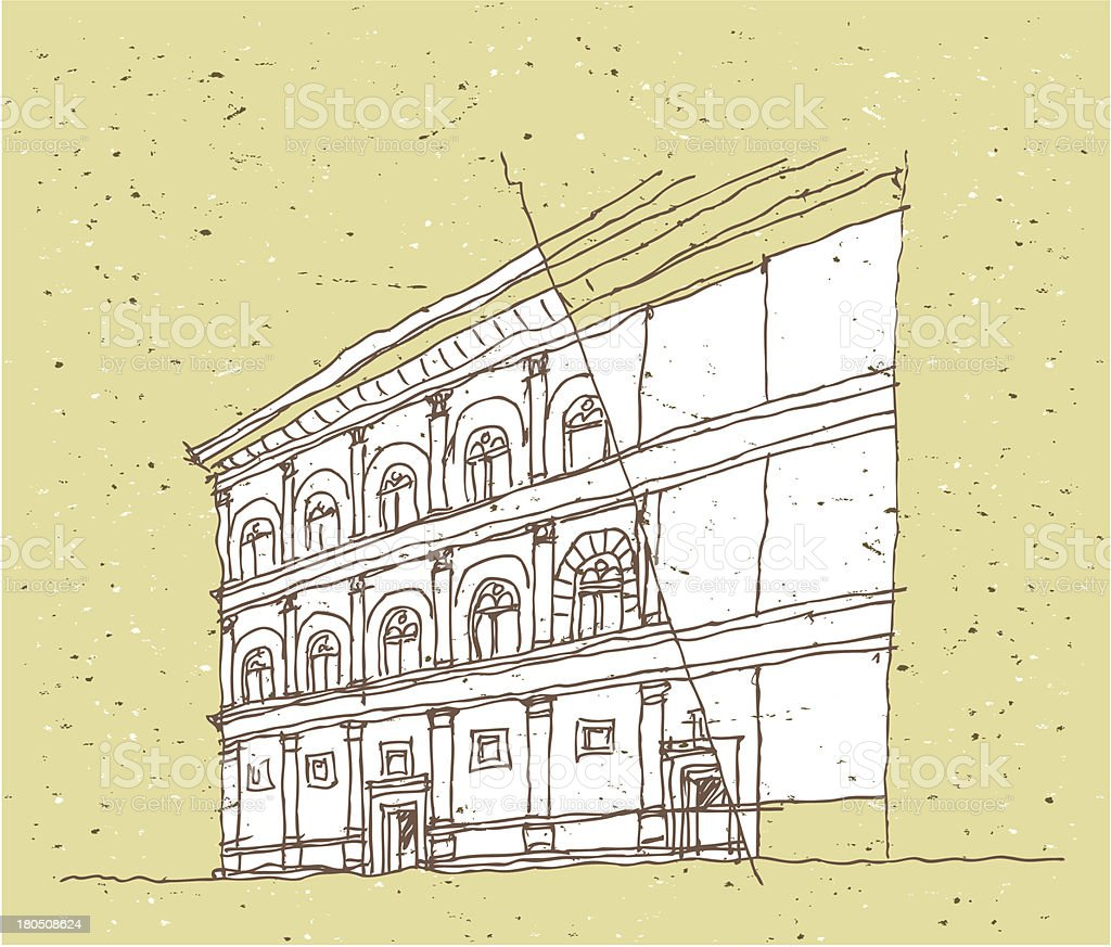 Sketching Historical Architecture in Italy: Florence, Tuscany vector art illustration
