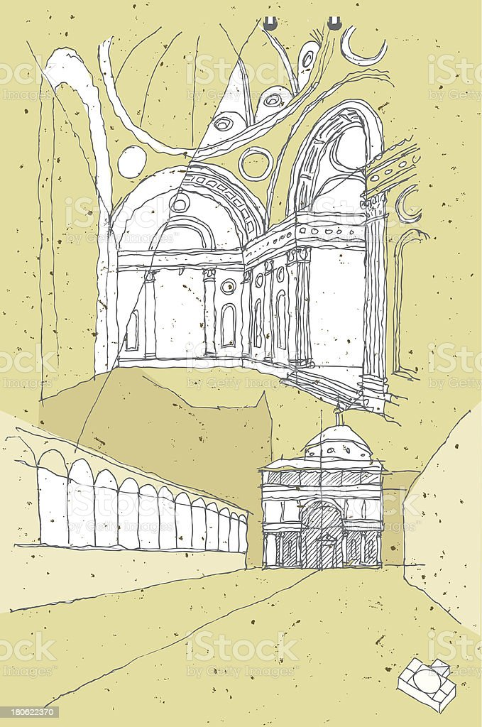 Sketching Historical Architecture in Italy: Florence royalty-free stock vector art
